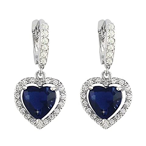 SELOVO Love Heart Hoop Drop Earrings Lever Back Leverback Blue Sapphire Color Zircon Silver Tone