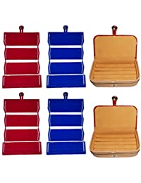 Afrose Combo 2 Pc Red Earring Folder 2 Pc Blue Ear Ring Folder 2 Pc Ring Jewelry Vanity Box