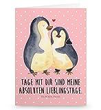 Mr. & Mrs. Panda Grußkarte Pinguin umarmend - 100% handmade in Norddeutschland - Liebesbeweis, Hochzeitstag, Liebespaar, Hochzeitsgeschenk, Einladungskarte, Hochzeit, Pappe, Einladung, Pinguin, Verlobung, Karte, Liebe