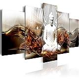 murando Impression sur Toile intissee 100x50 cm 5 Parties Tableau Tableaux Decoration Murale Photo Image Artistique Photographie Graphique Buddha Abstrait Fleurs lis h-C-0043-b-n