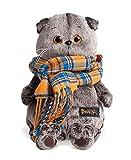 Katze Plüschtier Basik & Co - Mit kariertem Schal 19 cm von BudiBasa - Spielzeug für Erwachsene, Kinder & Babys weiche Kuscheltiere und süße Stofftiere für Mädchen und Jungen