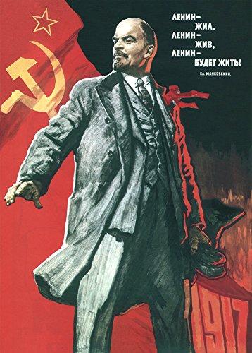 Vintage de la Unión Soviética, con texto en ruso Propaganda Lenin Lived, Lenin vive, y Lenin Will Go On La vida. C1960de reproducción de póster