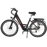 ANCHEER Elektrofahrrad, 26 Zoll Urben E-bike mit 250W bürstenlosem Motor und 36V 10Ah Lithium-Batterie Shimano 6-Gang (Schwarz)