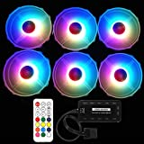 Meiyiu 12V 33CFM 6pin RGB Colorful Light 12CM DC Computer Case Chassis Cooling Fan 6 Color Fans + 1 Set Controller
