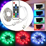 WYBAN 200 cm TV retroiluminación Tiras 60pc LED,Luz Impermeable LED tira de luz flexible 5050 SMD RGB con cable USB y RF mando a distancia inalámbrico Decoración para TV/Desk PC/portátil Iluminación de fondo(Blanco 2M)