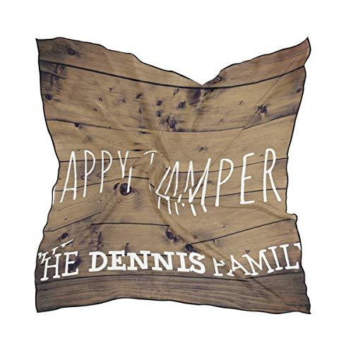 heune Holz Plank personalisierte Happy Camper Damen seidig quadratische Schals Taschentuch, nachgeahmte Seide Taschentuch Schal ()