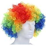 Elephantboat Curly Afro Wigs Multi-color Party Clown Funky Disco for Men Women Fancy Dress