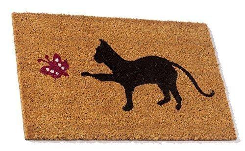 Fußmatte Schuhabtreter Abtreter Türmatte Kokosmatte Katze + Schmetterling
