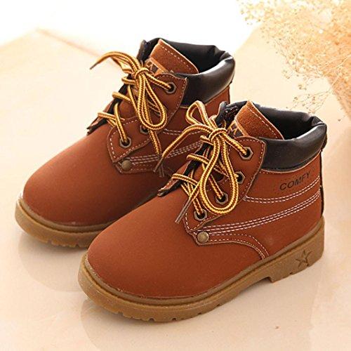 kingko® Hiver Bébé Filles Garçons Armée Enfant Style de Martin Boot chaussures chaudes Marron