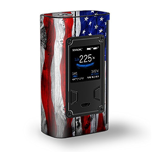 Usa Flag Kit (Skin Sticker für Smok Majesty 225W TC Kit Vape Kit Skins Sticker Cover/American Flag auf Holz)