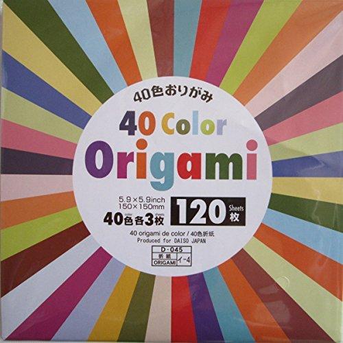 Origami Papier 40 Farben 120 Blatt 15x15cm von Daiso Japan -