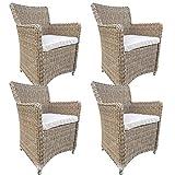 dasmöbelwerk 4er Set Polyrattan Stuhl mit Sitzpolstern Rattan Stuhl Relax Sessel Gartenmöbel Gartenstuhl Lilie Cappuccino