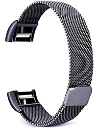 House of Quirk Mesh Stainless Steel Replacement Band for Fitbit Charge 2(Space Grey)