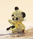 Adorno para móvil, Panda, Oro, colores brillantes, Bling Bling, para todos los dispositivos con conector de 3,5mm, Dust Plug wadle de Shop