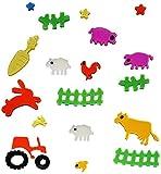 Unbekannt 20 TLG. Set Gel Sticker / Sticker - Aufkleber / Wandtattoo / Fensterbild - Traktor Schaf Tiere Fenster Bad - wasserfest - selbstklebend Wandsticker Glassticke