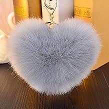 """hangnuo 4.7""""forma de corazón sintética piel de conejo bola pom pom llavero charms para mujer bolsas coche Llavero, Gris"""