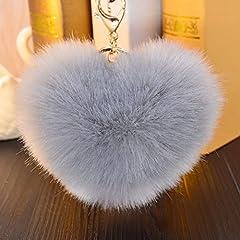Idea Regalo - Hangnuo - Ciondolo portachiavi a forma di cuore, in finta pelliccia di coniglio, pompon, per borsa da donna, portachiavi auto, 12cm, Grey