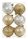 6 Stk. PVC Christbaumkugeln 8cm ( gold - weiß ) // Ornament Dekor Kunststoff bruchfest Dekokugeln Weihnachtskugeln Baumkugeln Baumschmuck Set Christbaumschmuck Weihnachtsschmuck 80mm
