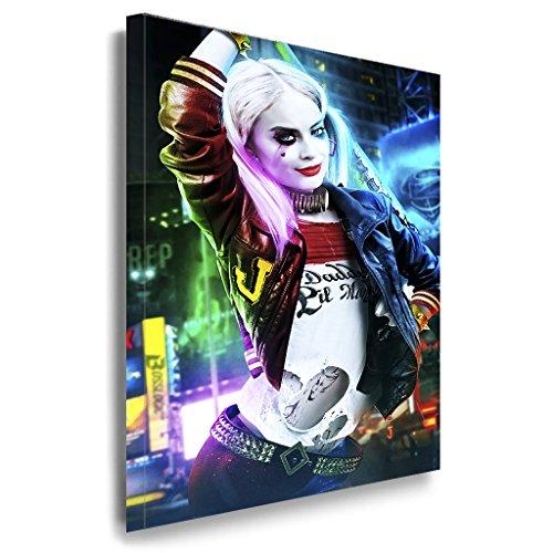 Harley Quinn Art LaraArt Studio | Premium Kunstdruck Made in Germany | Top Leinwandbilder in versch. Größen | Aufgespannt auf Holzrahmen inkl. Bildaufhänger 120 x 80 cm