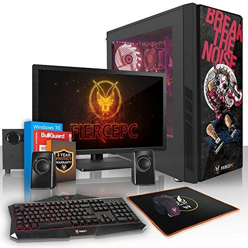 Fierce ATOM RGB Gaming PC Bundeln - 3.5GHz Quad-Core Intel Core i5 7400, 240GB SSD, 1TB HDD, 16GB, NVIDIA GeForce GTX 1050 Ti 4GB, Win 10, Tastatur (QWERTY), Maus, 24-Zoll-Monitor, Lautsprecher 908147
