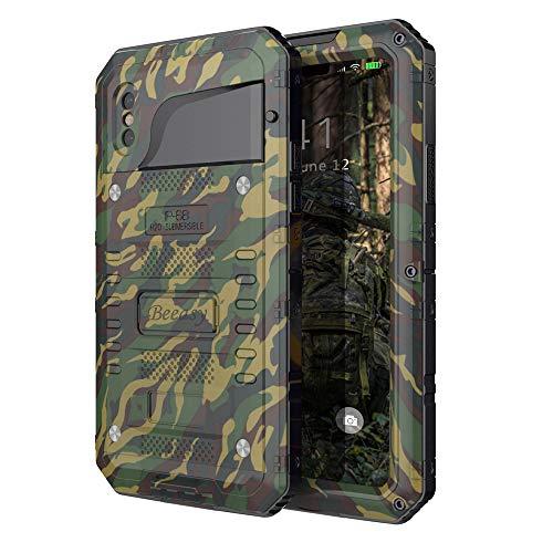 Beeasy Hülle Kompatibel mit iPhone XS/X, [Wasserdicht] Stoßfest Outdoor Handy Case Militärstandard Schutzhülle mit Displayschutz Metall Schutz vor Stürzen Stößen Heavy Duty Handyhülle,Camouflage