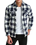 MODCHOK Uomo Camicie a Quadri Casual in Flanella Maniche Lunghe Shirt Slim Fit