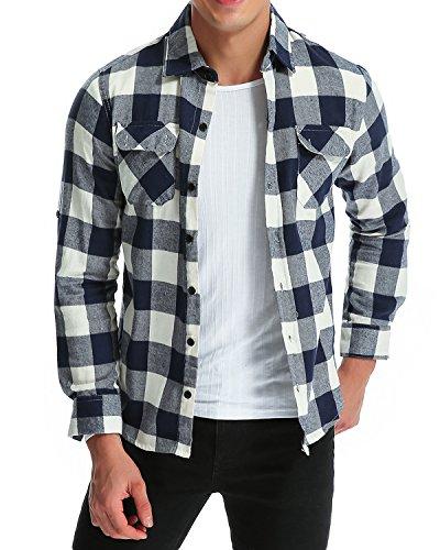 MODCHOK Hombre Camisa a Cuadros Casual de Franela Manga Larga Shirt Algodš®n Slim Fit?Azul Blanco M