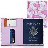 kwmobile Porta passaporto in pelle sintetica - scomparti carte foderina per passaporto in similpelle - Custodia porta documento fucsia/bianco/rosa design Fenicottero