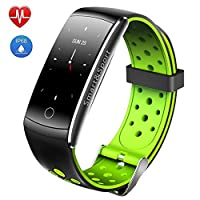 Health Trackers Activity Tracker Fitness Smart Bracelet IP68 Waterproof Heart Rate And Fitness Wristband Sports Record Respiratory Frequency Monitoring,Green