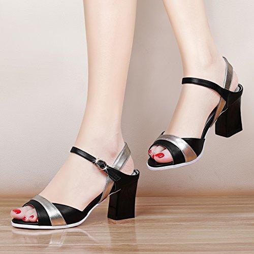 GTVERNH-black 7.5cm sandali donne con i tacchi alti estate bocca di pesce scarpe signore di colore denso di scarpe impermeabili incantesimo,40 Thirty-five