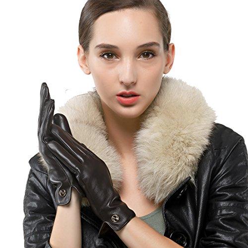 Las mujeres de piel de cordero de cuero italianoNappaglo Guantes invierno caliente simple largo forro polar guantes touchscreen (L (Palm:19-20.3cm), marrón oscuro (pantalla táctil)