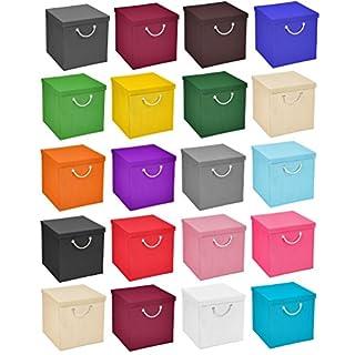 StickandShine 4er Set Schwarz Faltbox 30 x 30 x 30 cm Aufbewahrungsbox faltbar mit Kordel und mit Deckel