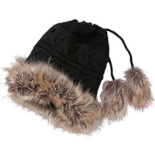 Amorar Winter Beanie Wollmütze Double Layer Fleece Mütze Kunstpelz Warme Strickmütze Infinity Schal Circle Loop Schals für Frauen,EINWEG Verpackung -