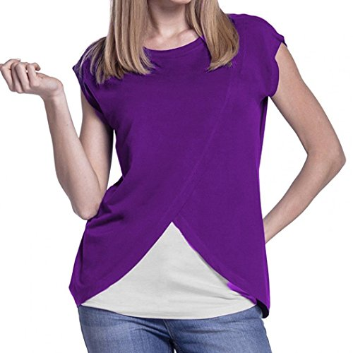 Bluse Damen Sommer Still-Wrap Top Cap Sleeves Doppelschicht Bluse T-Shirt (S, Violett) (Cap Tank T-shirt Top Sleeve)