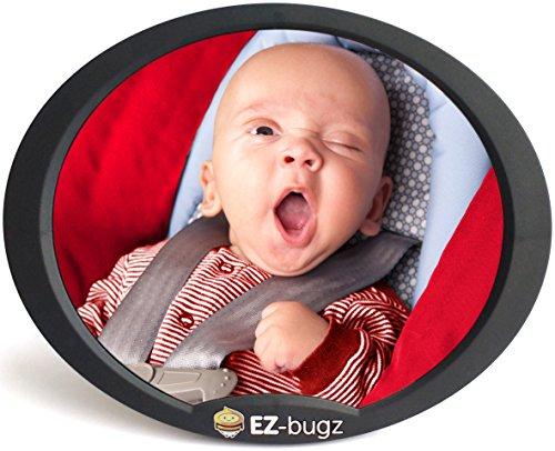 Babyspiegel Auto für Kindersitz & Babyschale, Autospiegel für Ihr Baby in der Reboarder zu beobachten, beste Qualität Rücksitz Spiegel von EZ-Bugz (Farbe Schwarz)