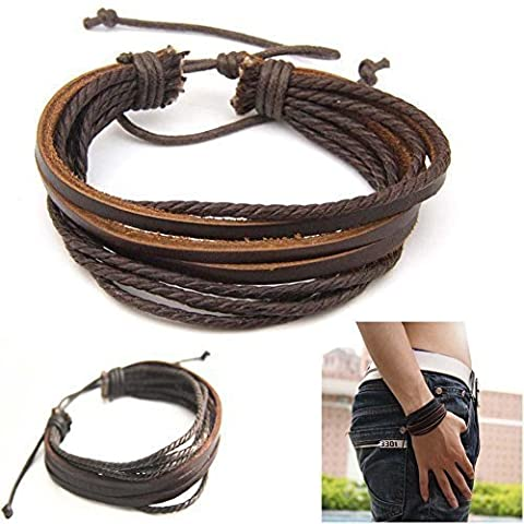 Casual Mens Surfer Tribal Wrap Multilayer Genuine Leather Cuff Bracelet Brown by MYLOVE