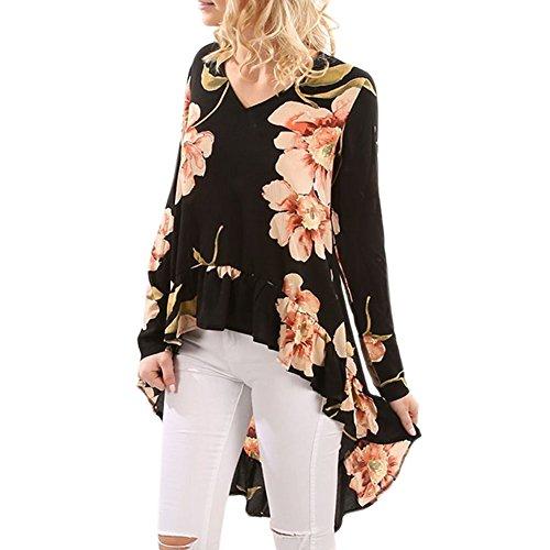 LAEMILIA Femmes Chemise Asymétrique Casual Blouse Imprimé Floral Manche Longue Mousseline de soie Chic Tops Col Rond Long Shirt Fleur