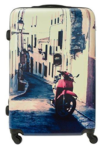 FABRIZIO Hartschalenkoffer Koffer ABS Kunststoff mit Polycarbonat Film + Koffergurt + Flüßigkeitenbeutel (Leopard SET 60 + 70 cm) Italy SET 60 + 70 cm