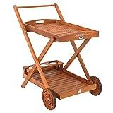 Desserte à roulettes en bois d'Acacia - chariot de service à 2 étages...