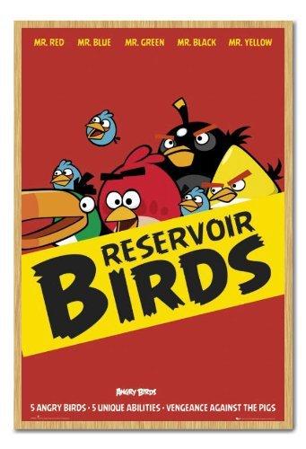 Angry Birds serbatoio uccelli Poster Sughero Pin Lavagnetta Faggio Con Cornice-96.5x 66cms (circa 96,5x 66cm)