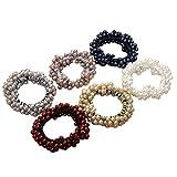 Lurrose 6 pcs perle bande de cheveux boules de cristal cravate cheveux anneau de cheveux perlé à la main en tissu (bleu marine, vin rouge, kaki, gris, blanc, beige, 1 Pcs chaque
