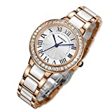 b65695d40777 MAMONA Reloj de Mujer con Cristales Acentuada Cerámica y Acero Inoxidable  Oro Rosa L68008RG