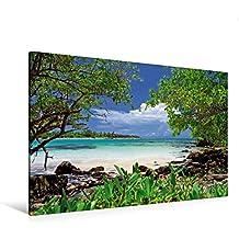 Premium Textil-Leinwand 120 cm x 80 cm quer, Türkisfarbenes Meer und saftig grüne Mangroven an der Küste von Yucatan | Wandbild, Bild auf Keilrahmen, ... Golf von Mexiko, Mexiko (CALVENDO Orte)