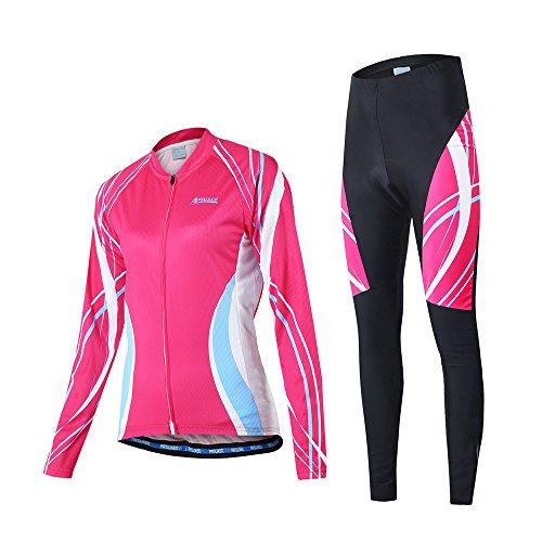 Lixada Frauen Langarm Radbekleidung Set/Radjacke Gepolsterte Hosen Sportswear, 3 Taschen/Schwammkissen/Reflektierendem Streifenentwurf
