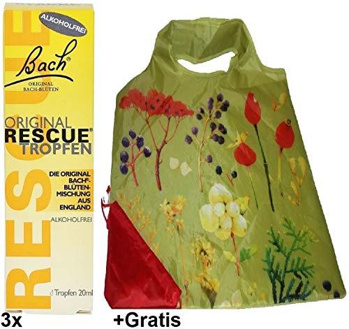 3x 20ml Original Rescue Tropfen +Gratis Einkaufstasche. Die Original Bachblütenmischung