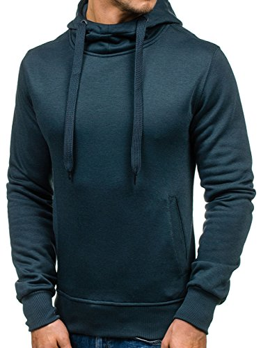BOLF Herren Kapuzenpullover Sweatshirt Hoodie Basic Sport Style Mix 1A1 Dunkelblau_2072