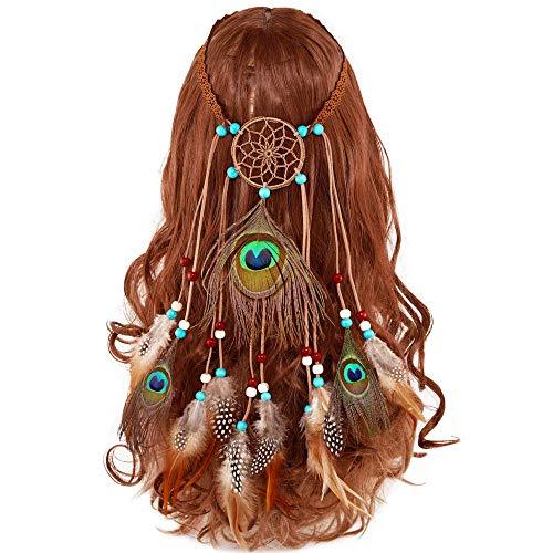 mischen Pfau QuasteHaarband Traumfänger Hippie Indianer Kopfschmuck Gürtel mit Perlen für Abendkleider Halloween Karneval Maskerade Zubehör ()