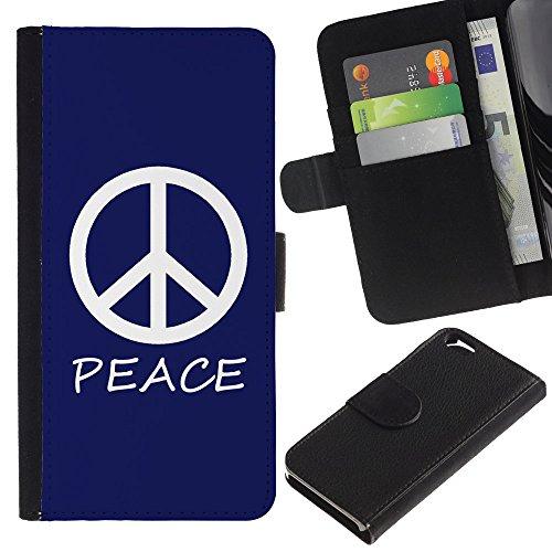 Graphic4You Peace Sign Friedenszeichen Design Brieftasche Leder Hülle Case Schutzhülle für Apple iPhone 6 / 6S (Neon Rosa) Marineblau