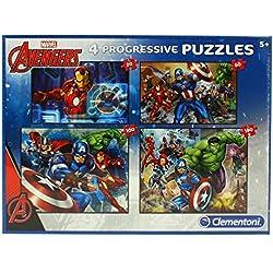 Clementoni 07722 07722-Supercolor Avengers Rompecabezas 20 + 60 + 80 + 180 Unidades
