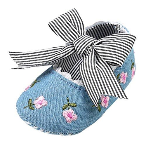 UOMOGO Scarpine neonato Pattini appena nati dei sandali del bambino della neonata del bambino della neonata dei bambini 3-18 Mesi (Età: 6~12 mesi, Blu 3)